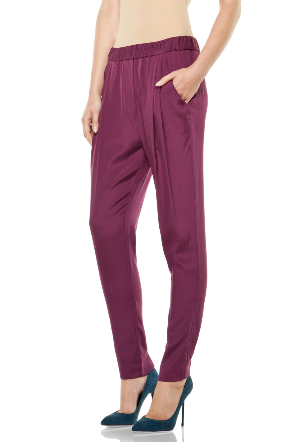 Image 2 of 3.1 phillip lim Draped Pocket Trouser in Berry