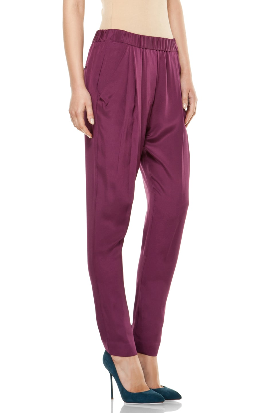 Image 3 of 3.1 phillip lim Draped Pocket Trouser in Berry