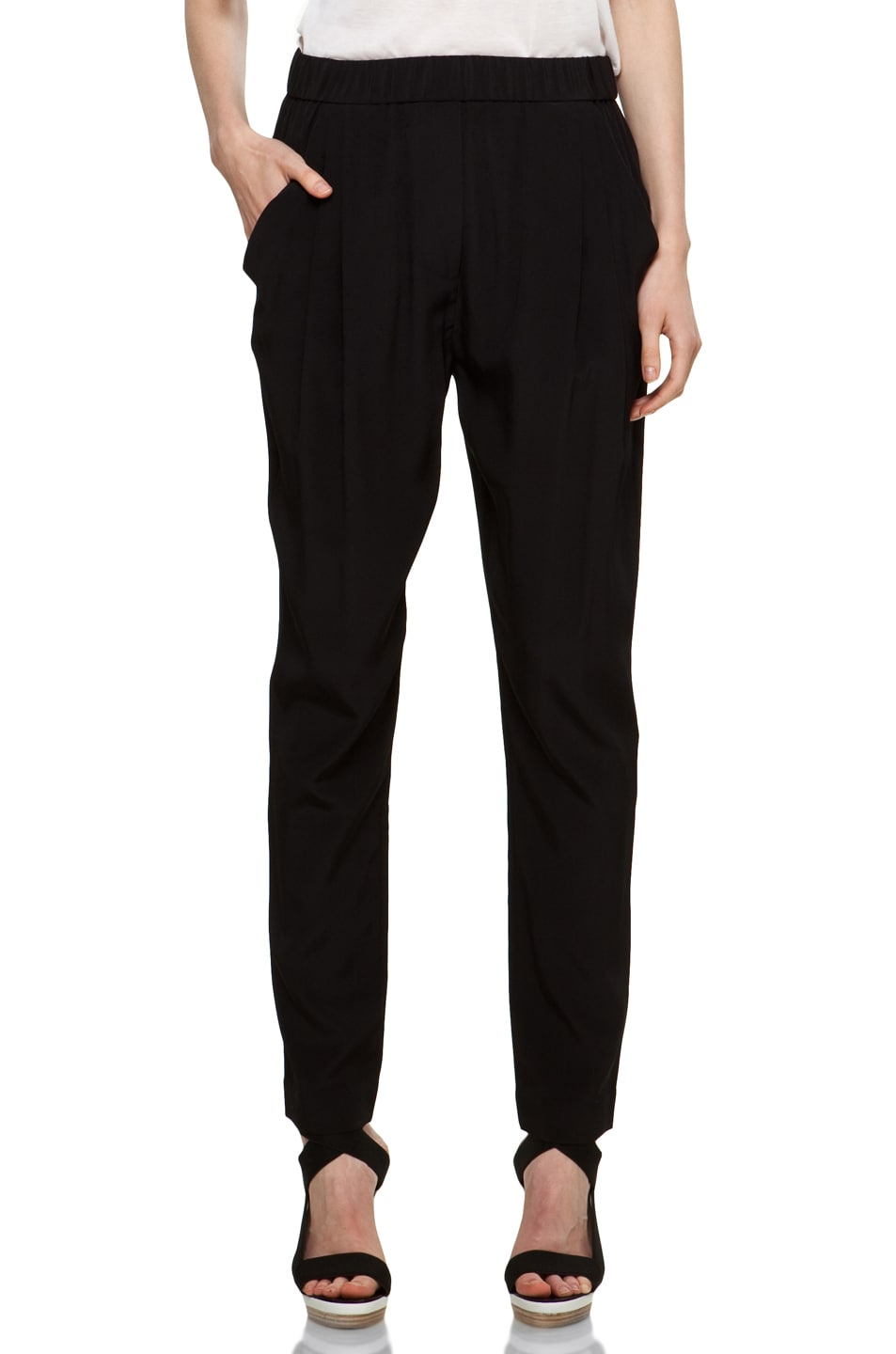 Image 1 of 3.1 phillip lim Draped Pocket Silk Trouser in Black