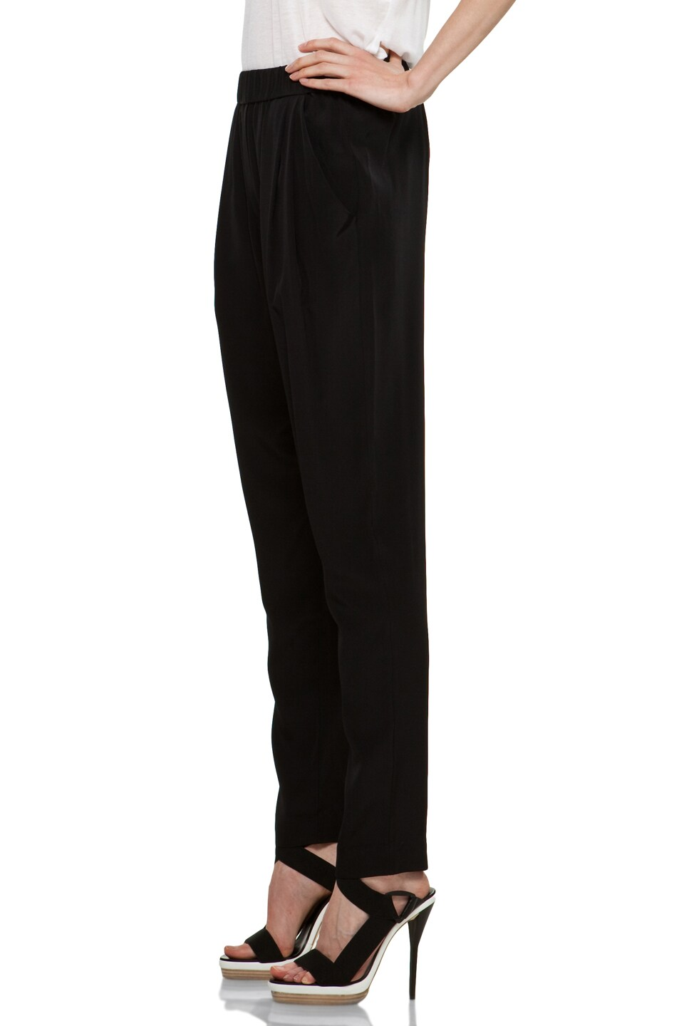 Image 2 of 3.1 phillip lim Draped Pocket Silk Trouser in Black