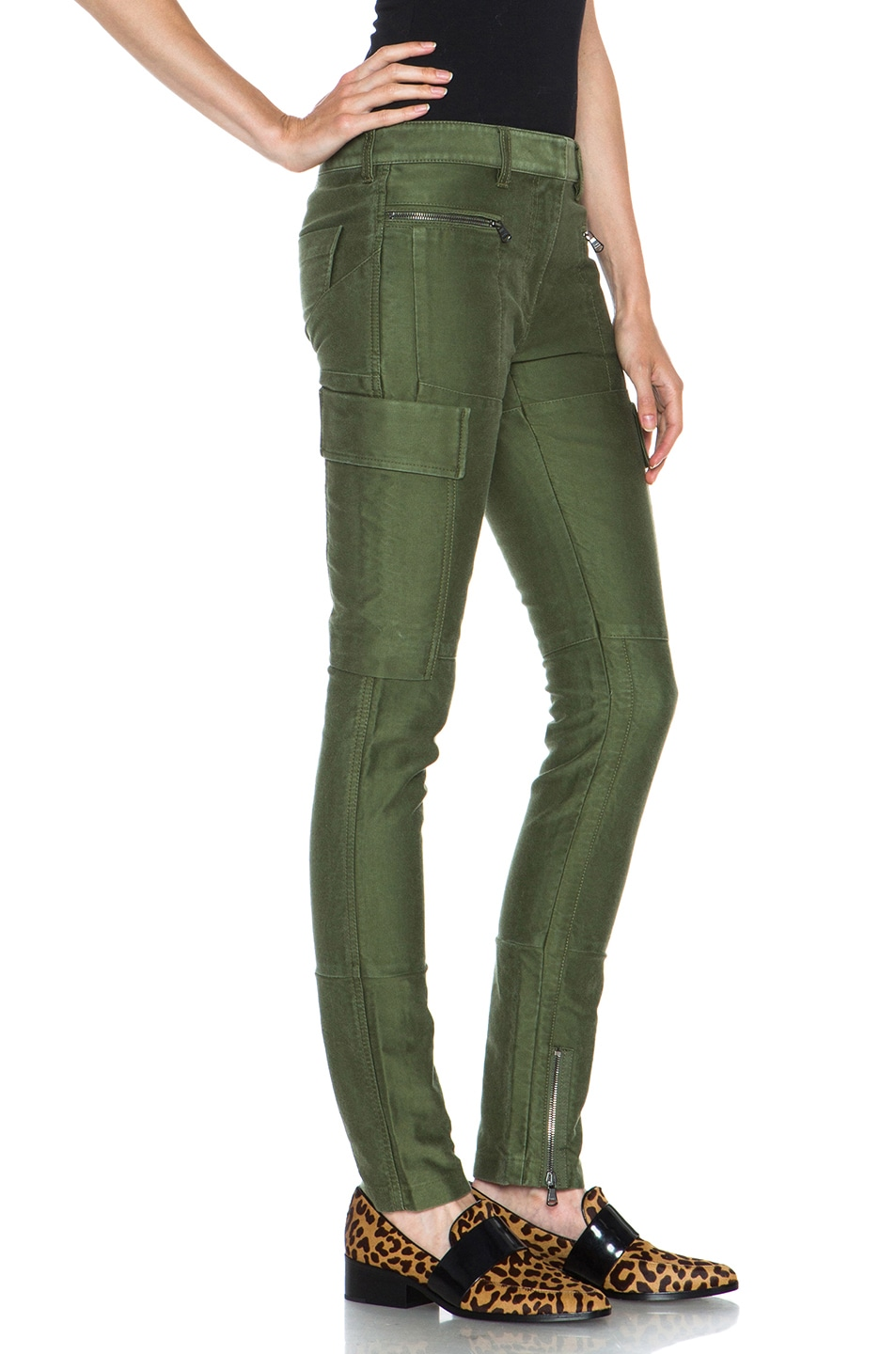 Image 3 of 3.1 phillip lim Skinny Cargo Cotton Pant in Army Green
