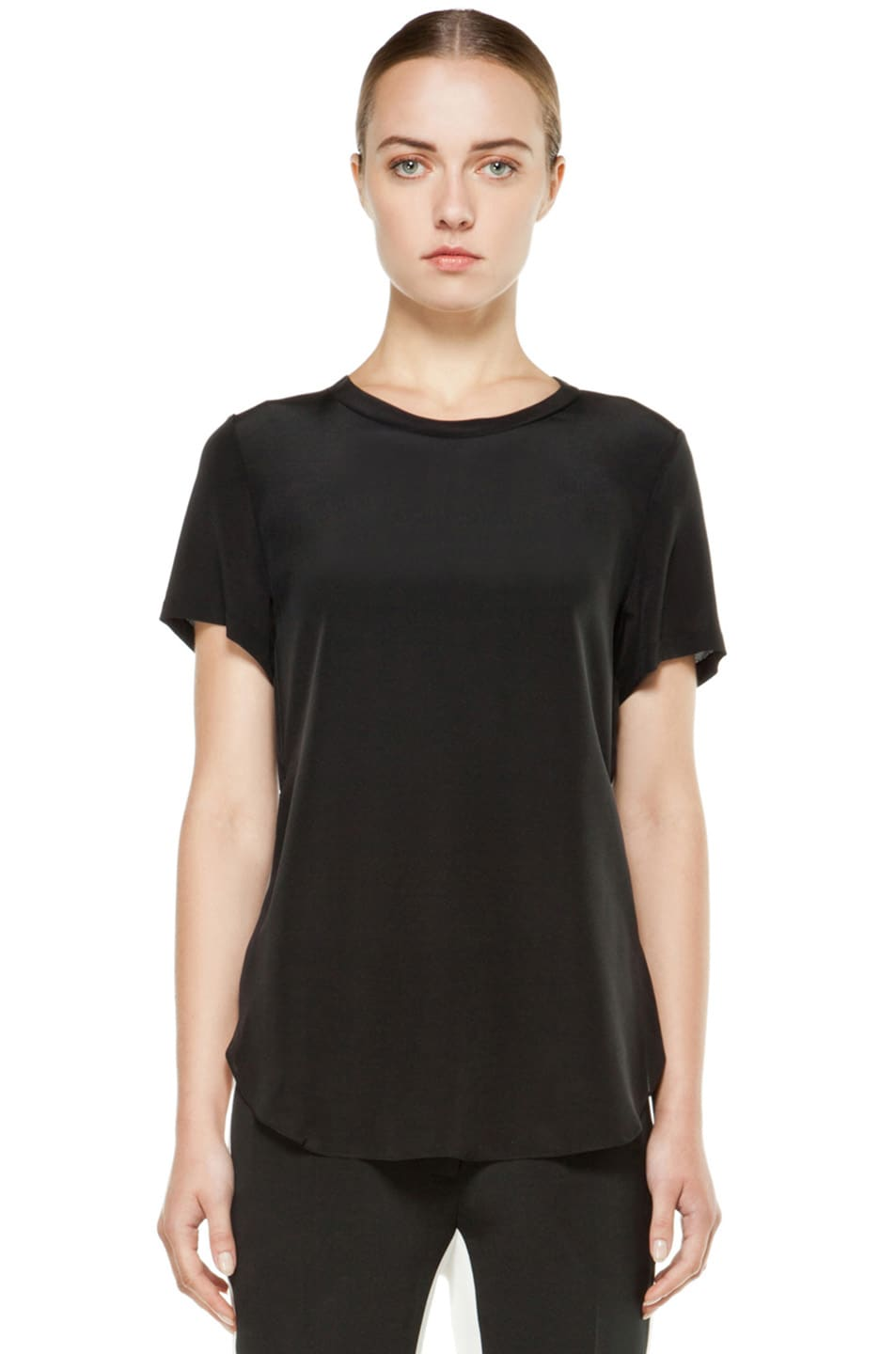 Image 1 of 3.1 phillip lim Silk Overlapped Side Tee in Black