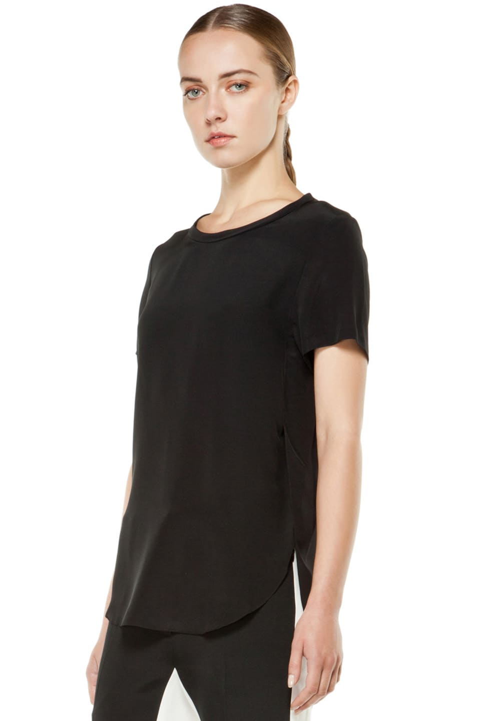 Image 2 of 3.1 phillip lim Silk Overlapped Side Tee in Black