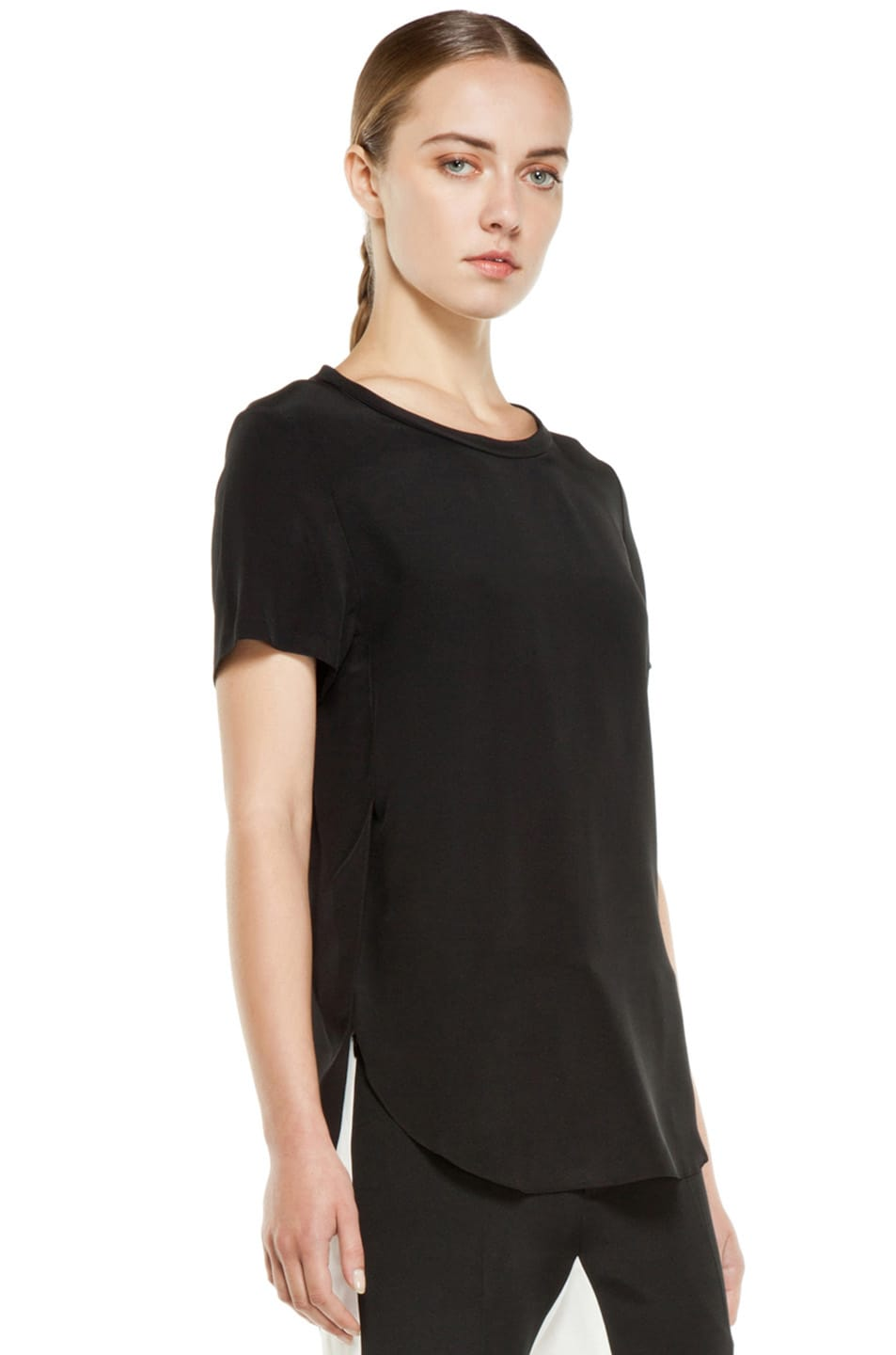 Image 3 of 3.1 phillip lim Silk Overlapped Side Tee in Black