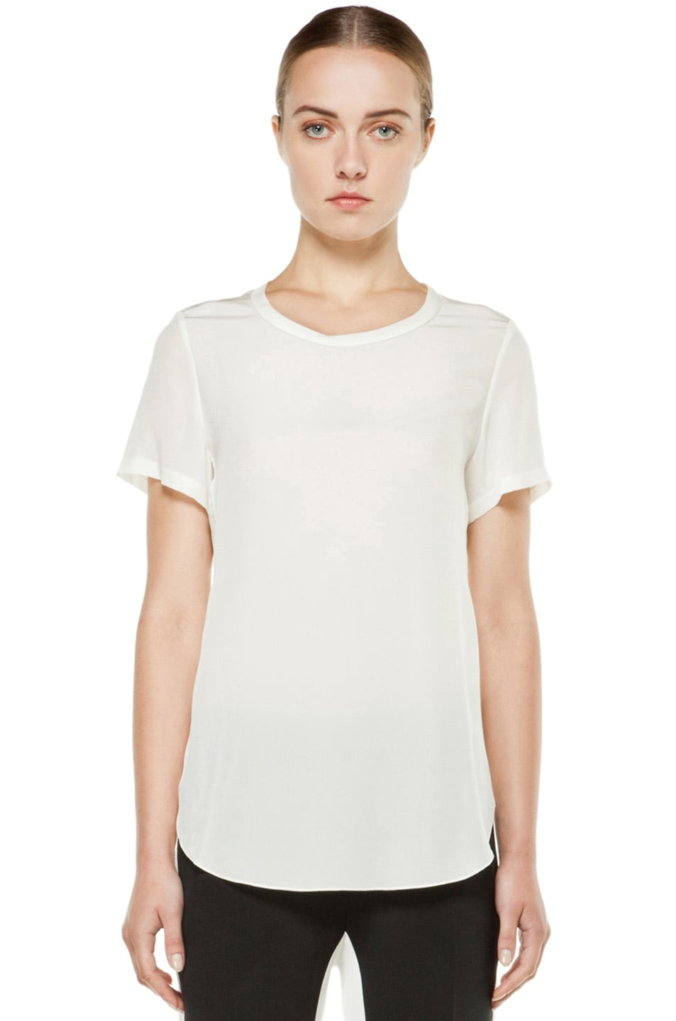 Image 1 of 3.1 phillip lim Silk Overlapped Side Tee in White