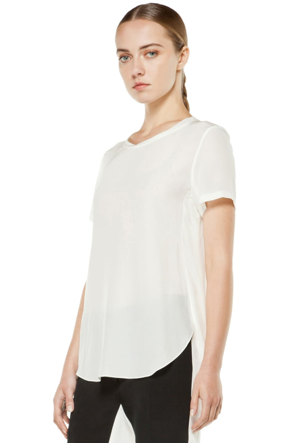 Image 2 of 3.1 phillip lim Silk Overlapped Side Tee in White