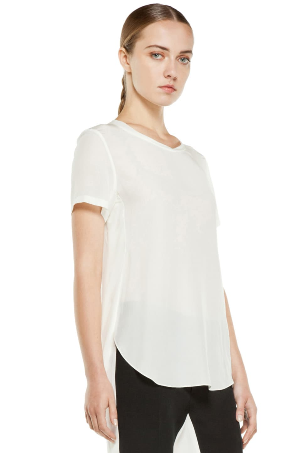 Image 3 of 3.1 phillip lim Silk Overlapped Side Tee in White