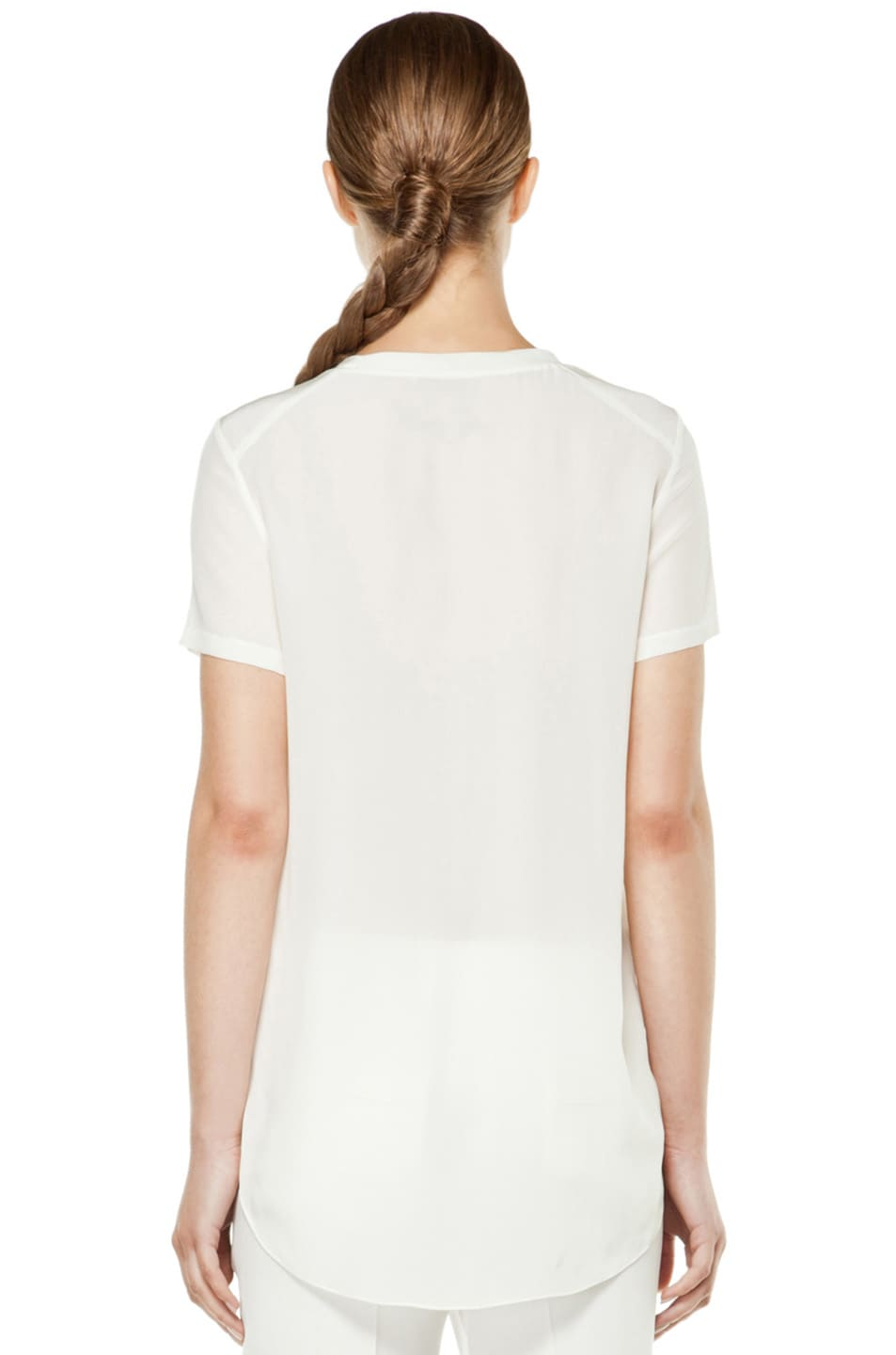 Image 4 of 3.1 phillip lim Silk Overlapped Side Tee in White