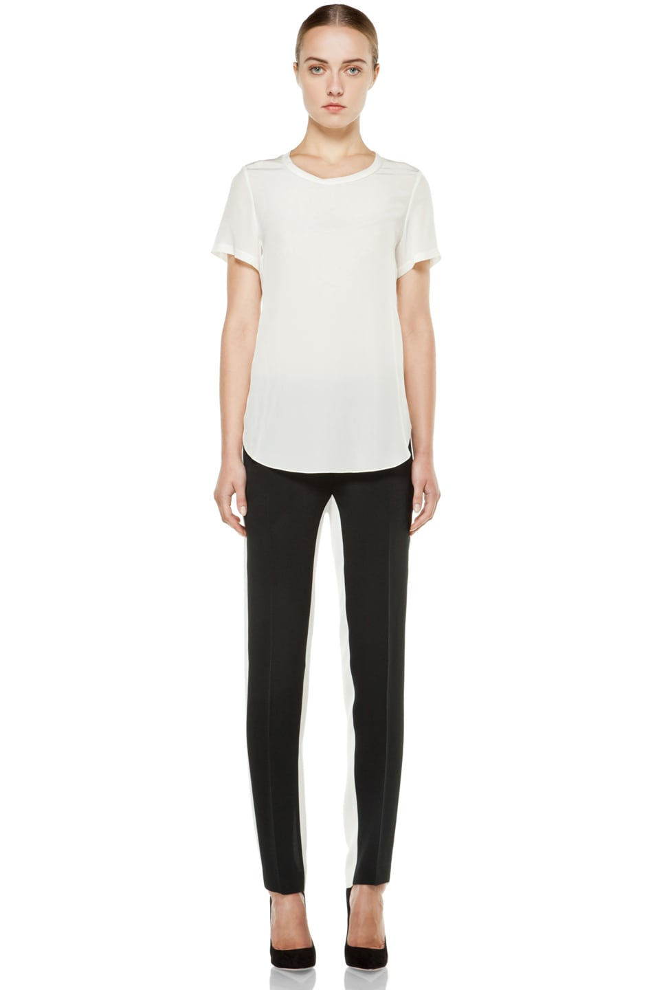 Image 5 of 3.1 phillip lim Silk Overlapped Side Tee in White