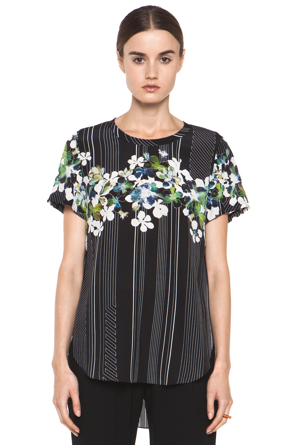 Image 1 of 3.1 phillip lim Overlapped Side Tee in Black