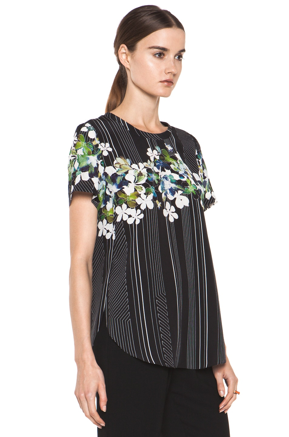 Image 3 of 3.1 phillip lim Overlapped Side Tee in Black