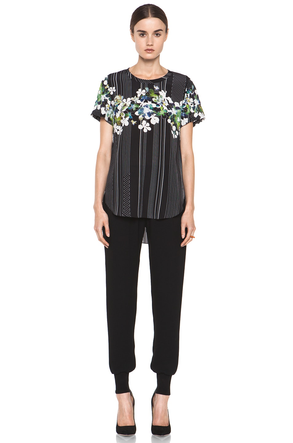 Image 5 of 3.1 phillip lim Overlapped Side Tee in Black