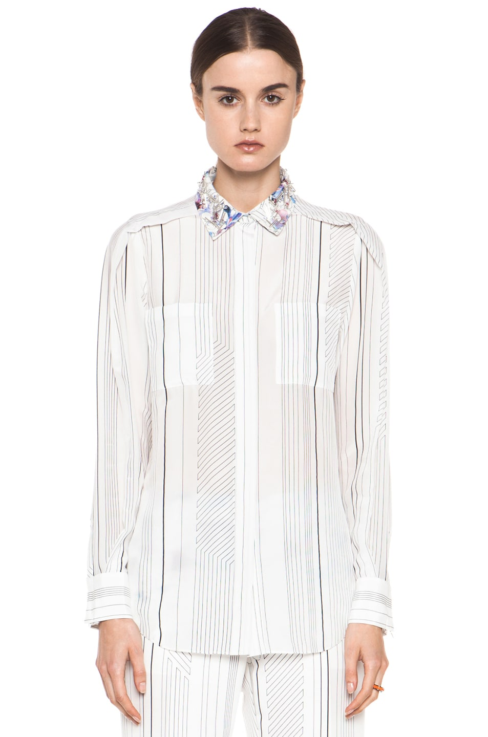 Image 2 of 3.1 phillip lim Pleat Shoulder Shirt with Embellished Collar in Antique White