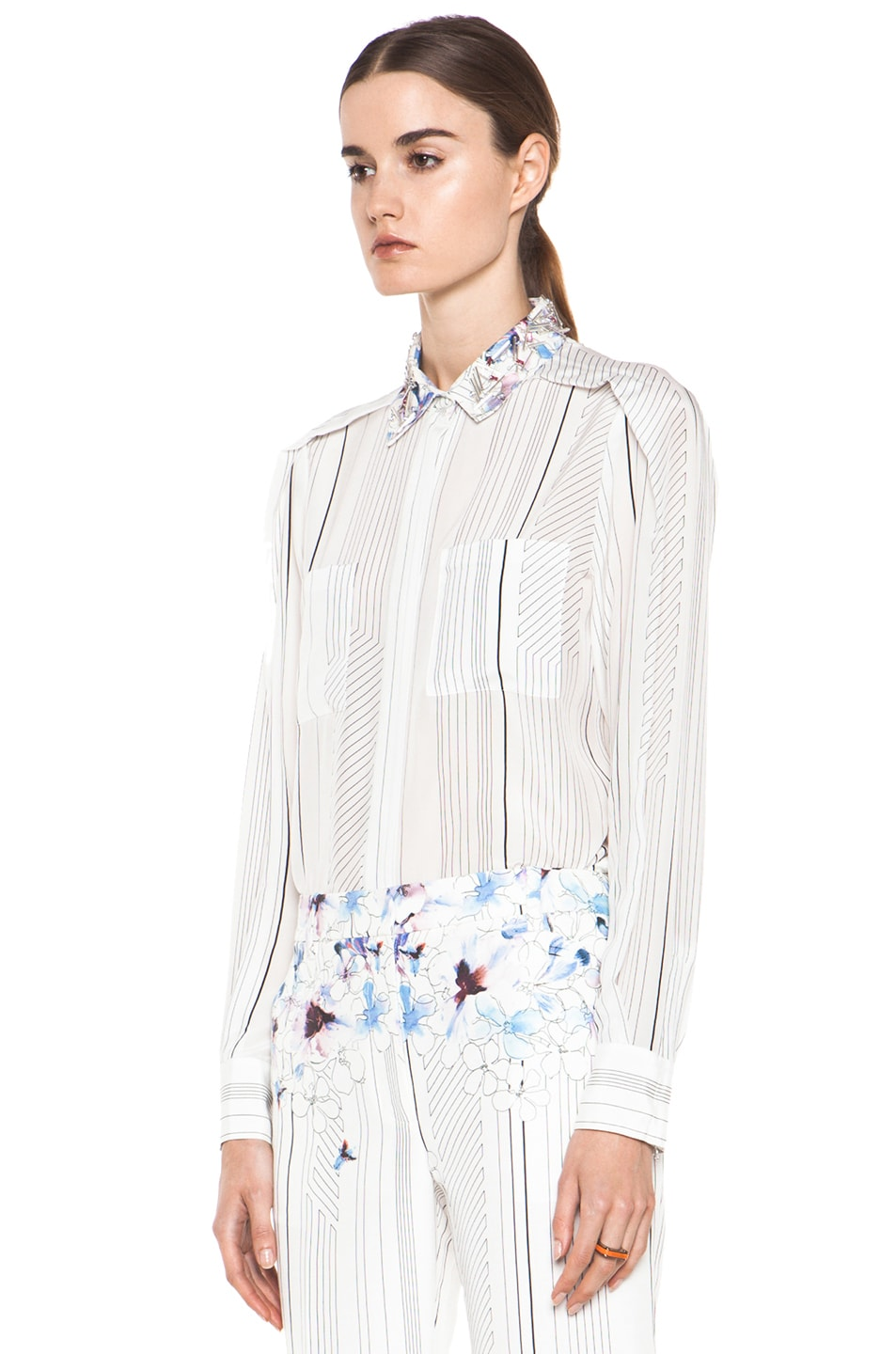 Image 3 of 3.1 phillip lim Pleat Shoulder Shirt with Embellished Collar in Antique White