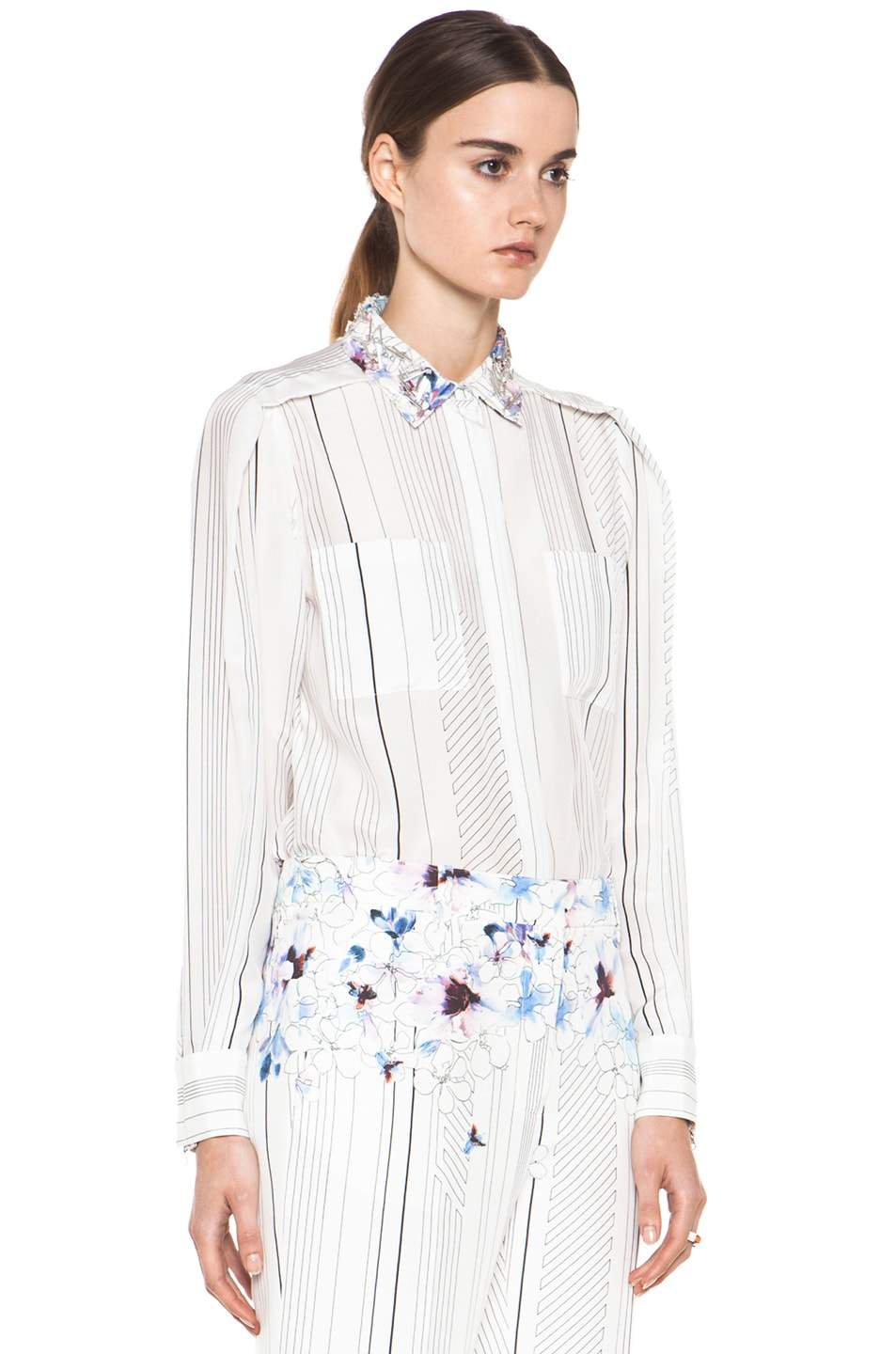 Image 4 of 3.1 phillip lim Pleat Shoulder Shirt with Embellished Collar in Antique White