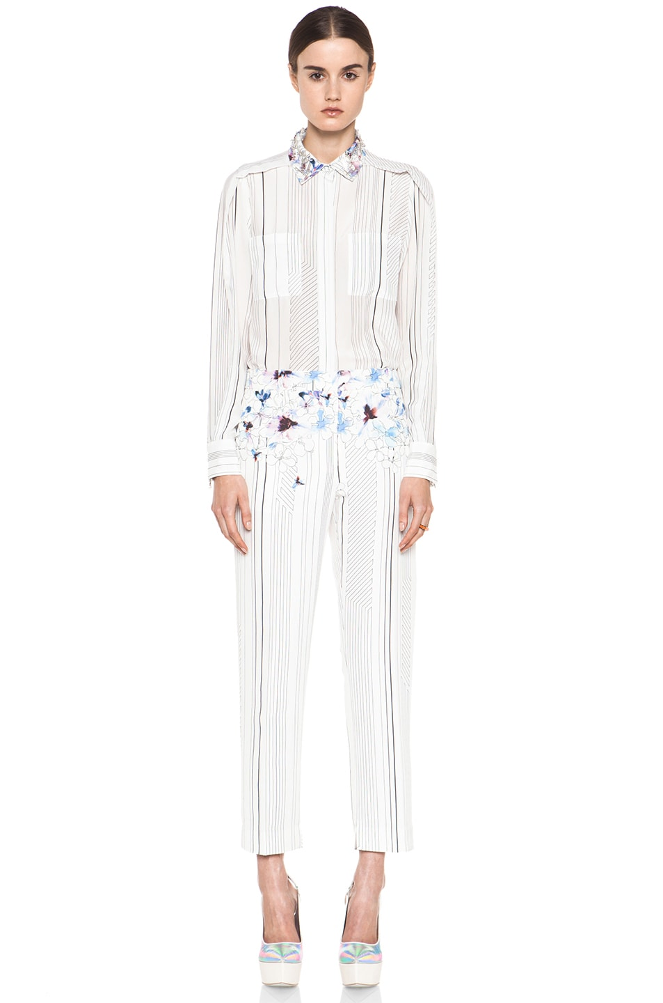 Image 6 of 3.1 phillip lim Pleat Shoulder Shirt with Embellished Collar in Antique White
