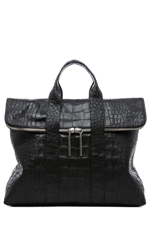 Image 1 of 3.1 phillip lim Matte Crocodile Embossed 31 Hour Bag in Black