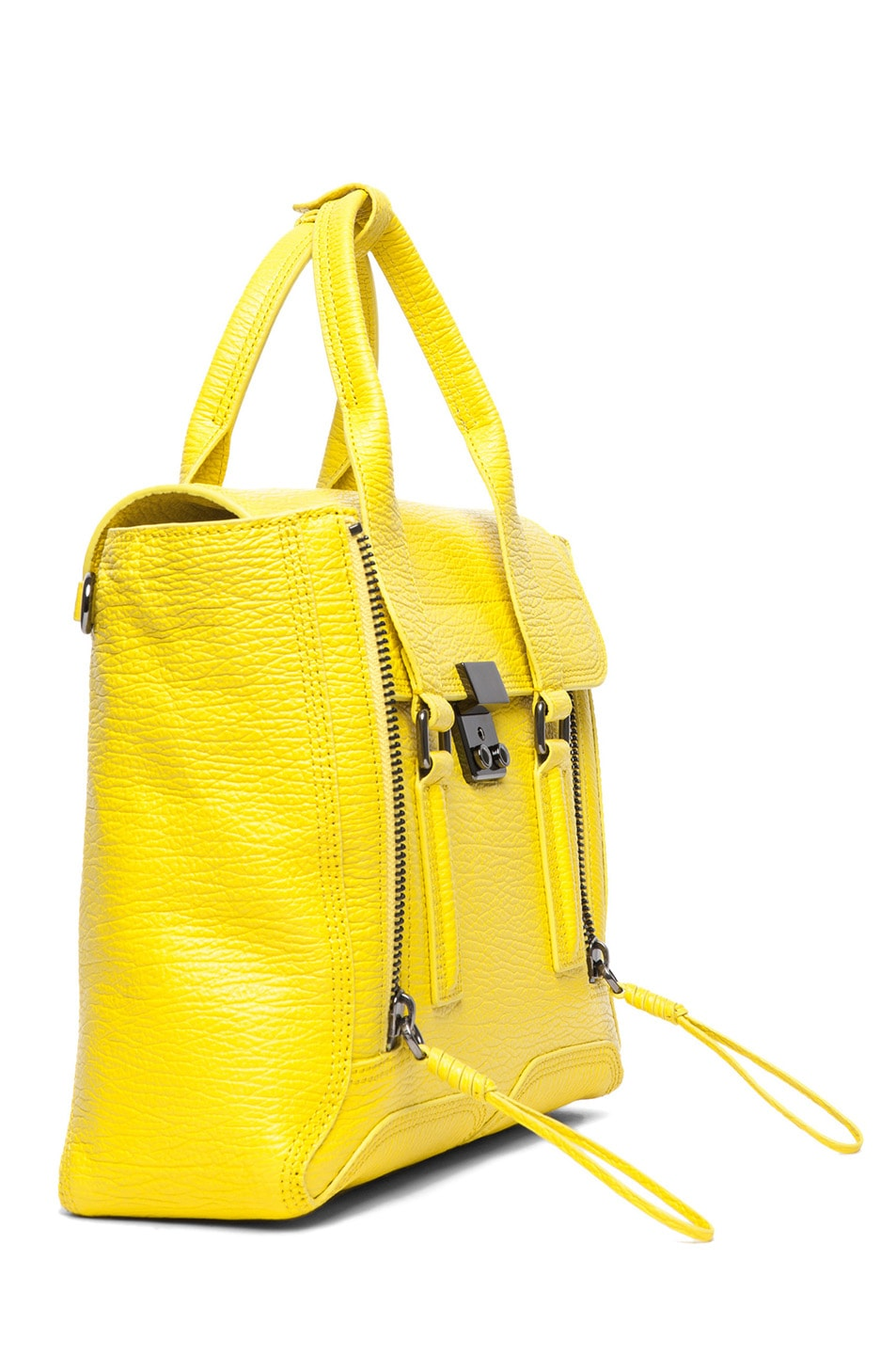 Image 3 of 3.1 phillip lim Medium Pashli Shark Embossed Satchel in Electric Yellow