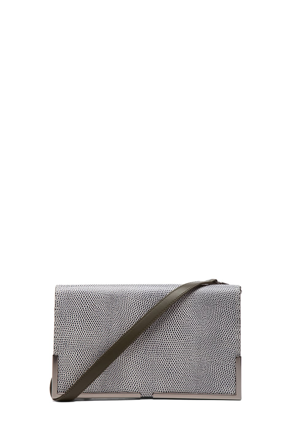 Image 1 of 3.1 phillip lim Scout Flap Clutch in White & Black & Dark Olive