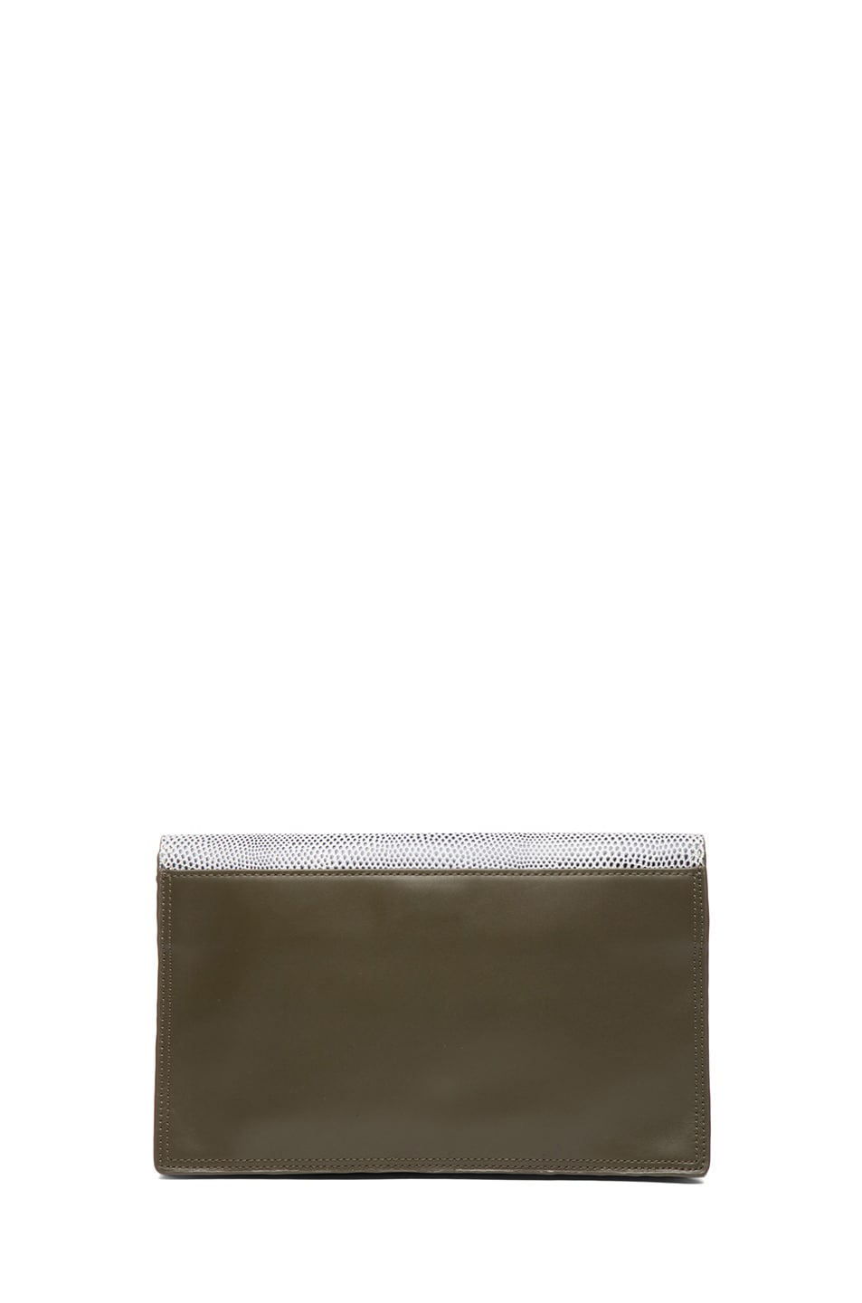 Image 2 of 3.1 phillip lim Scout Flap Clutch in White & Black & Dark Olive