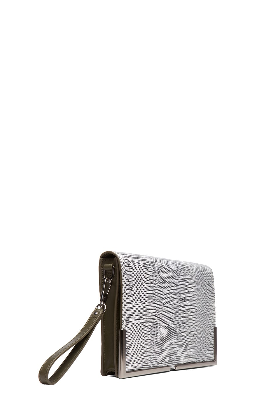 Image 3 of 3.1 phillip lim Scout Flap Clutch in White & Black & Dark Olive