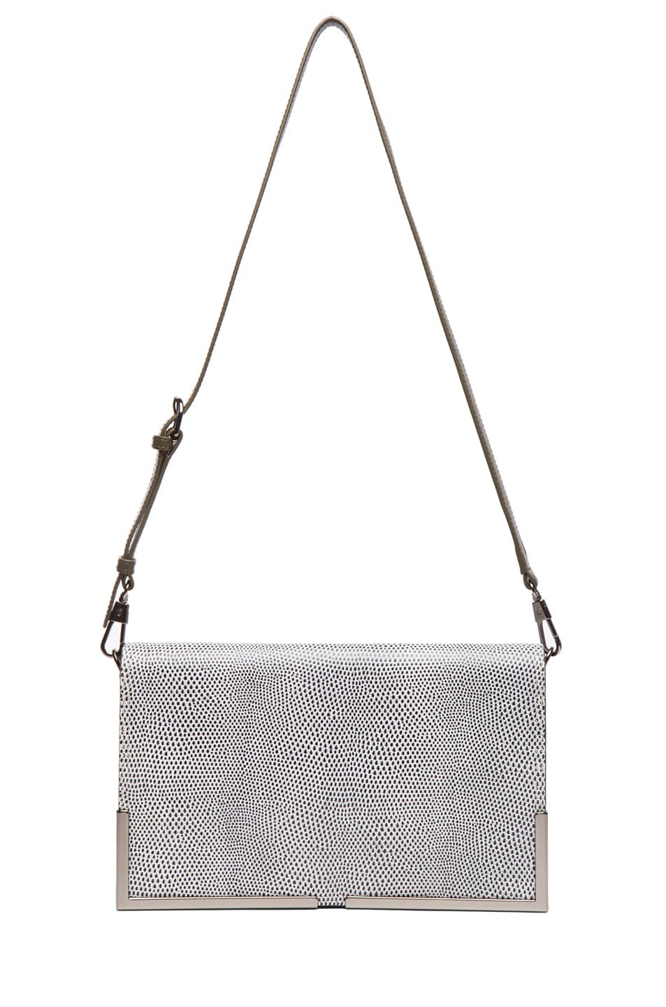 Image 5 of 3.1 phillip lim Scout Flap Clutch in White & Black & Dark Olive