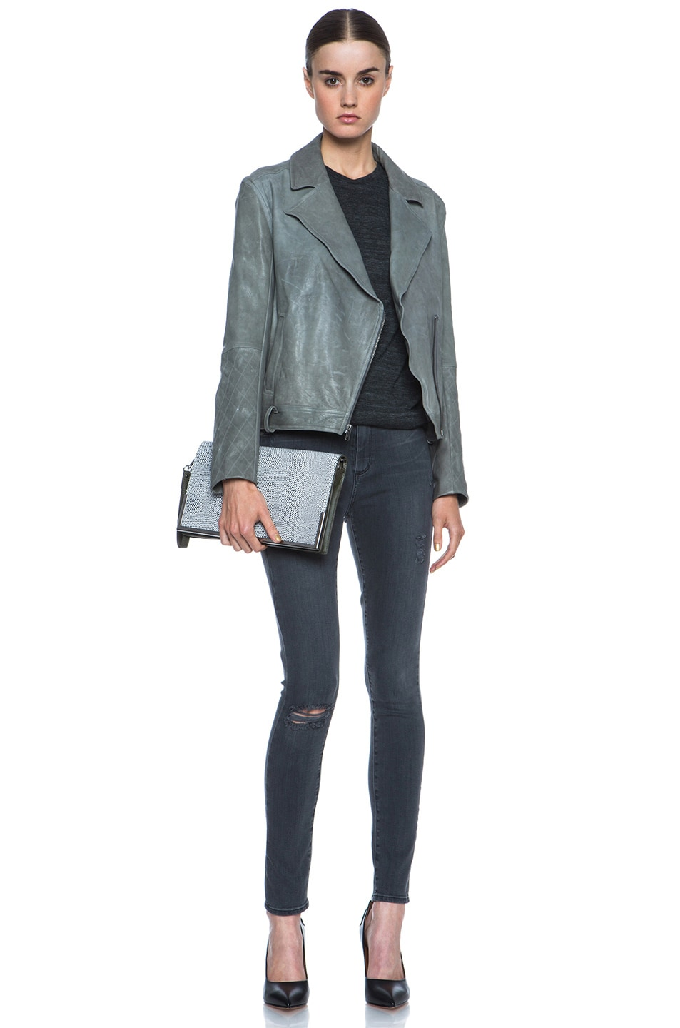 Image 6 of 3.1 phillip lim Scout Flap Clutch in White & Black & Dark Olive