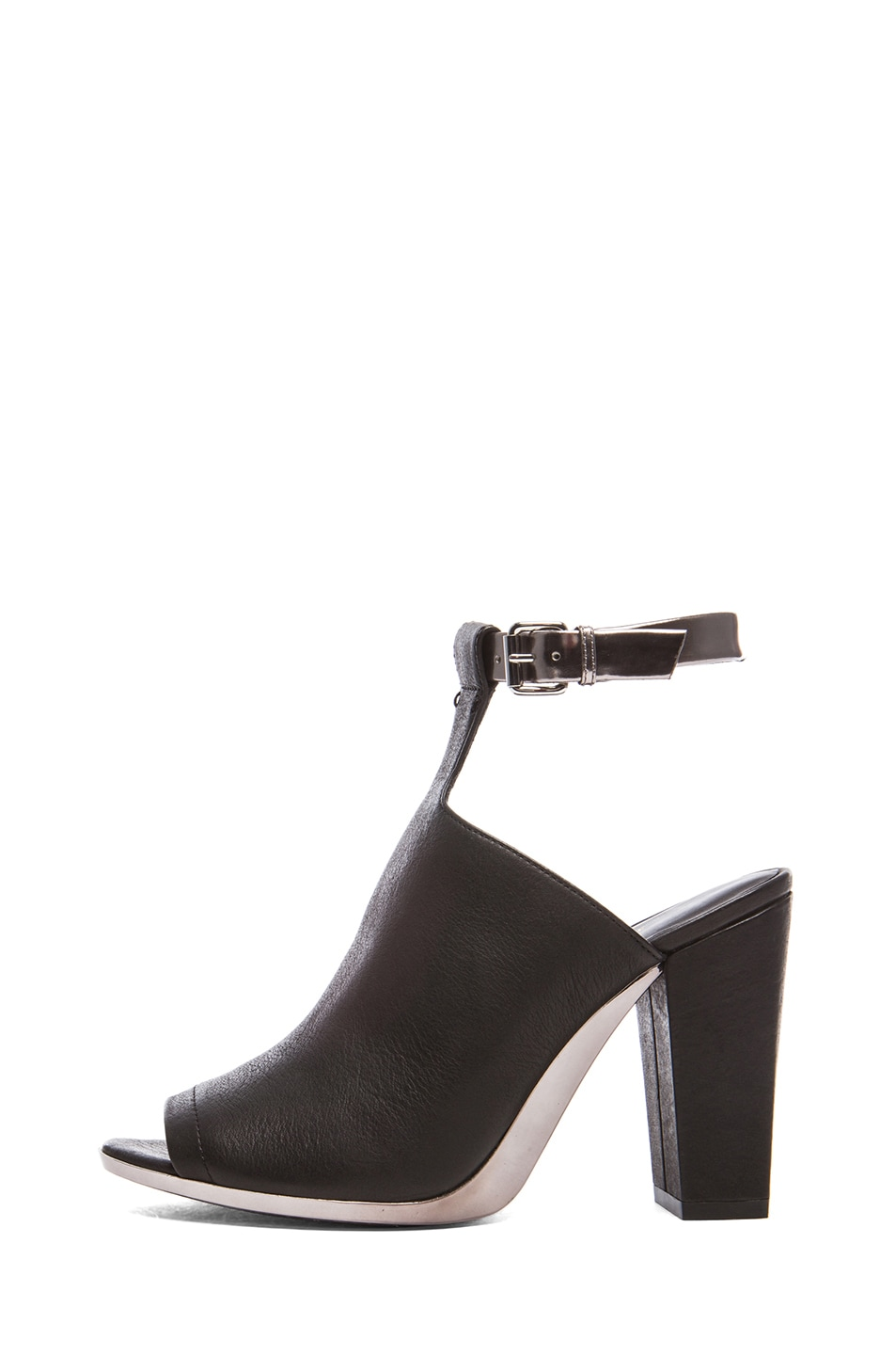 Image 1 of 3.1 phillip lim Vincent Leather Ankle Strap Mules in Black & Gunmetal