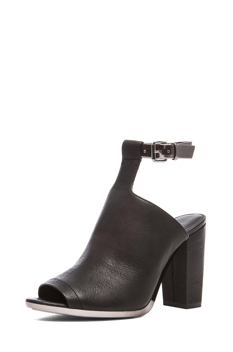 Image 2 of 3.1 phillip lim Vincent Leather Ankle Strap Mules in Black & Gunmetal