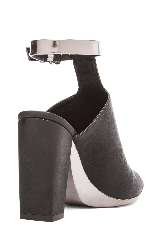 Image 3 of 3.1 phillip lim Vincent Leather Ankle Strap Mules in Black & Gunmetal