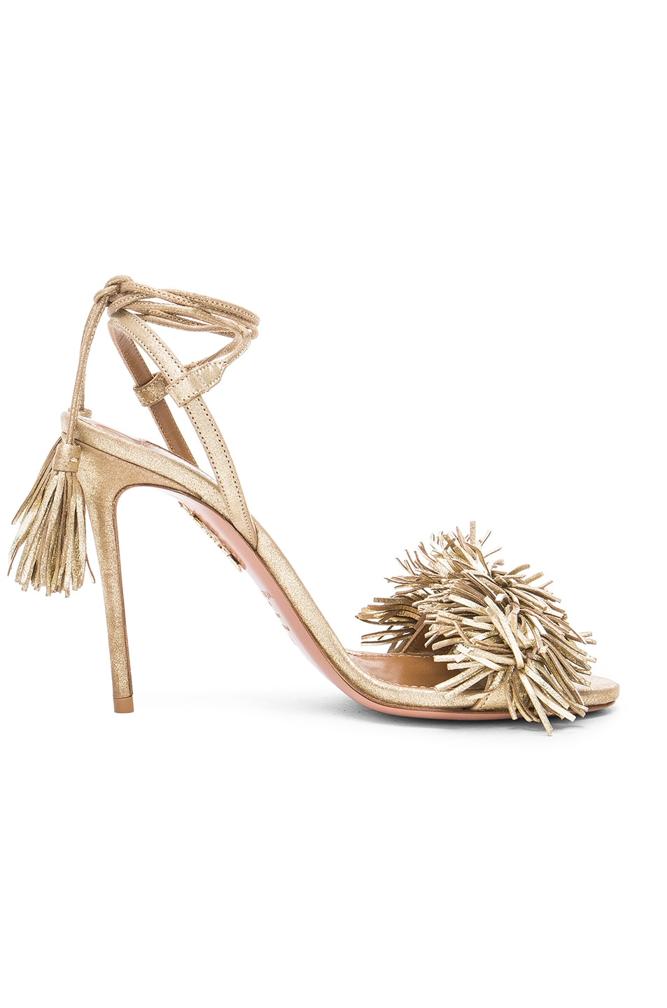 Aquazzura Leather Wild Thing Heels in Light Gold | FWRD