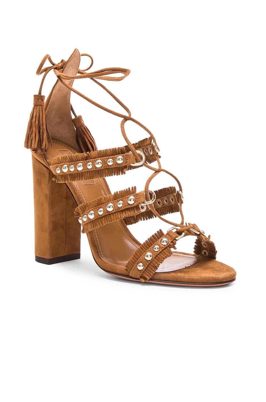 Image 2 of Aquazzura Suede Tulum Sandals in Cognac