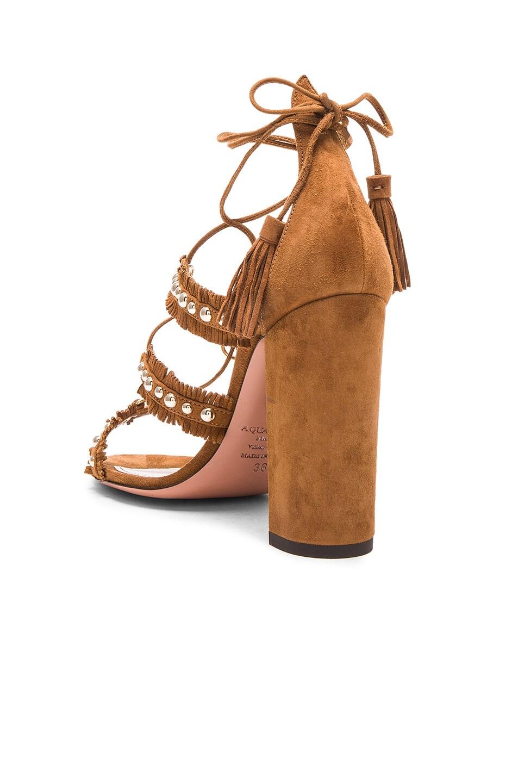 Image 3 of Aquazzura Suede Tulum Sandals in Cognac