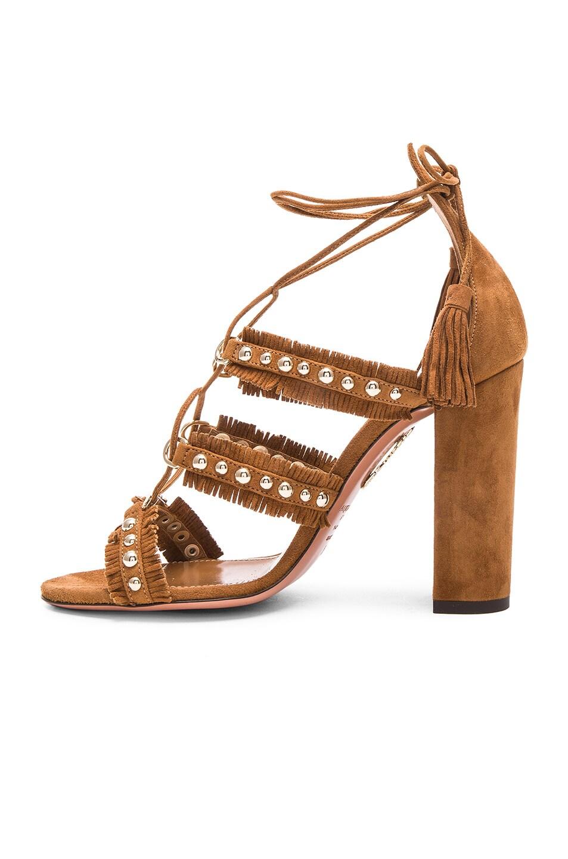 Image 5 of Aquazzura Suede Tulum Sandals in Cognac