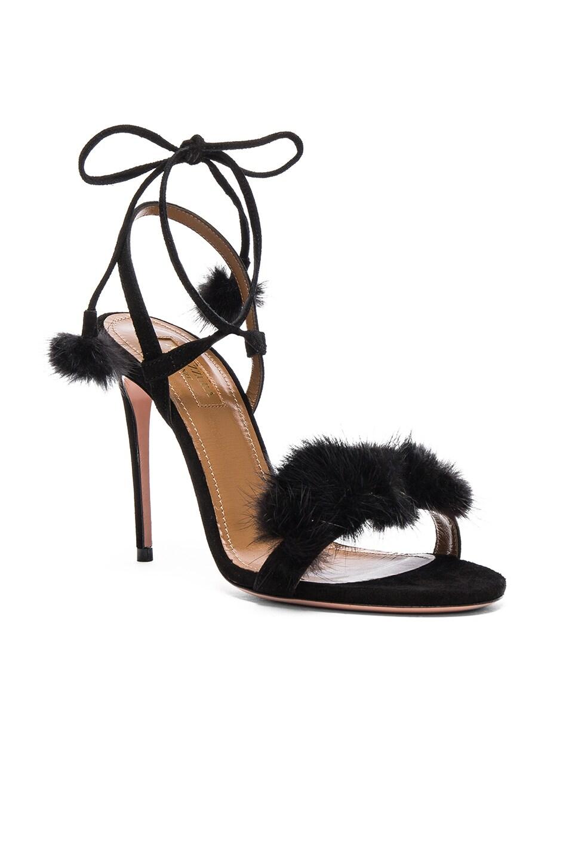 Image 2 of Aquazzura Suede Wild Russian Heels with Mink Fur in Black