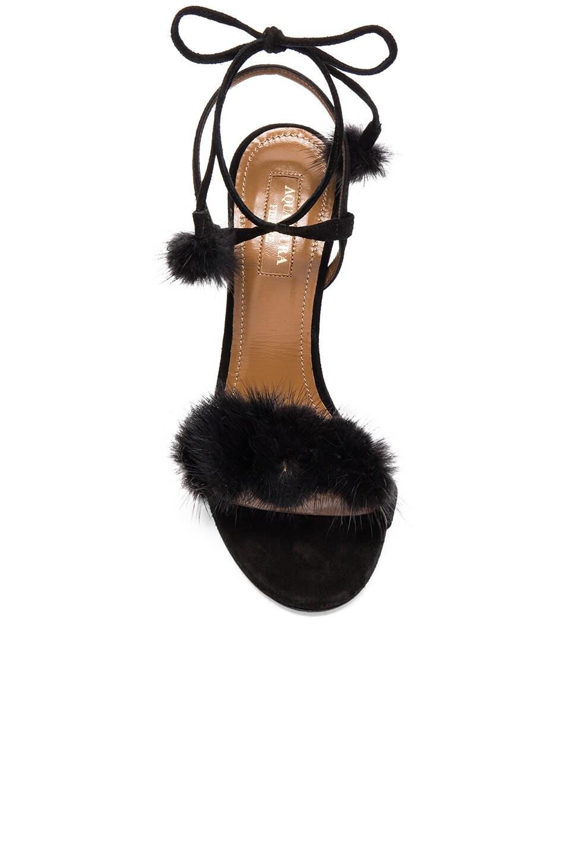 Image 4 of Aquazzura Suede Wild Russian Heels with Mink Fur in Black