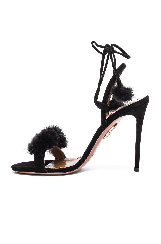 Image 5 of Aquazzura Suede Wild Russian Heels with Mink Fur in Black