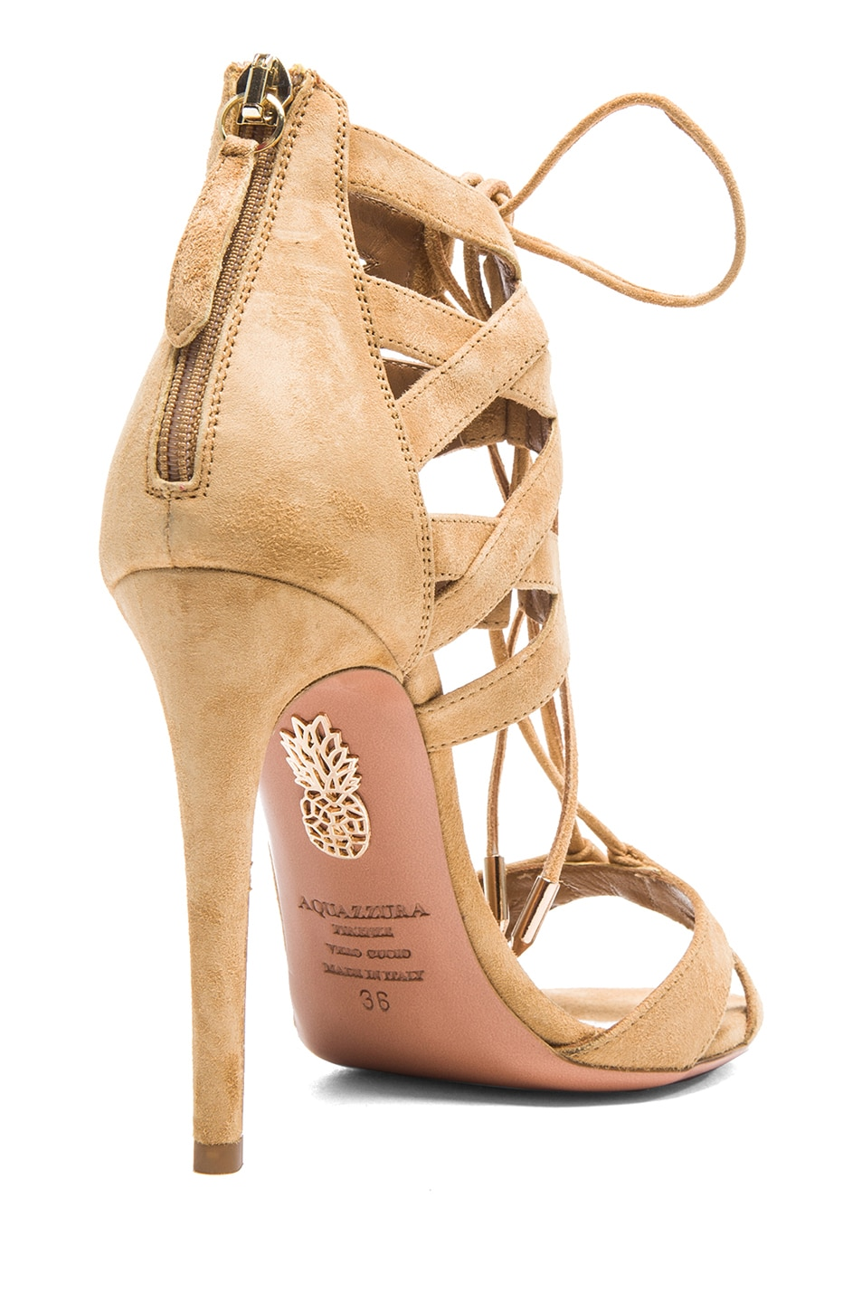 Image 3 of Aquazzura Beverly Hills Suede Sandals in Tan