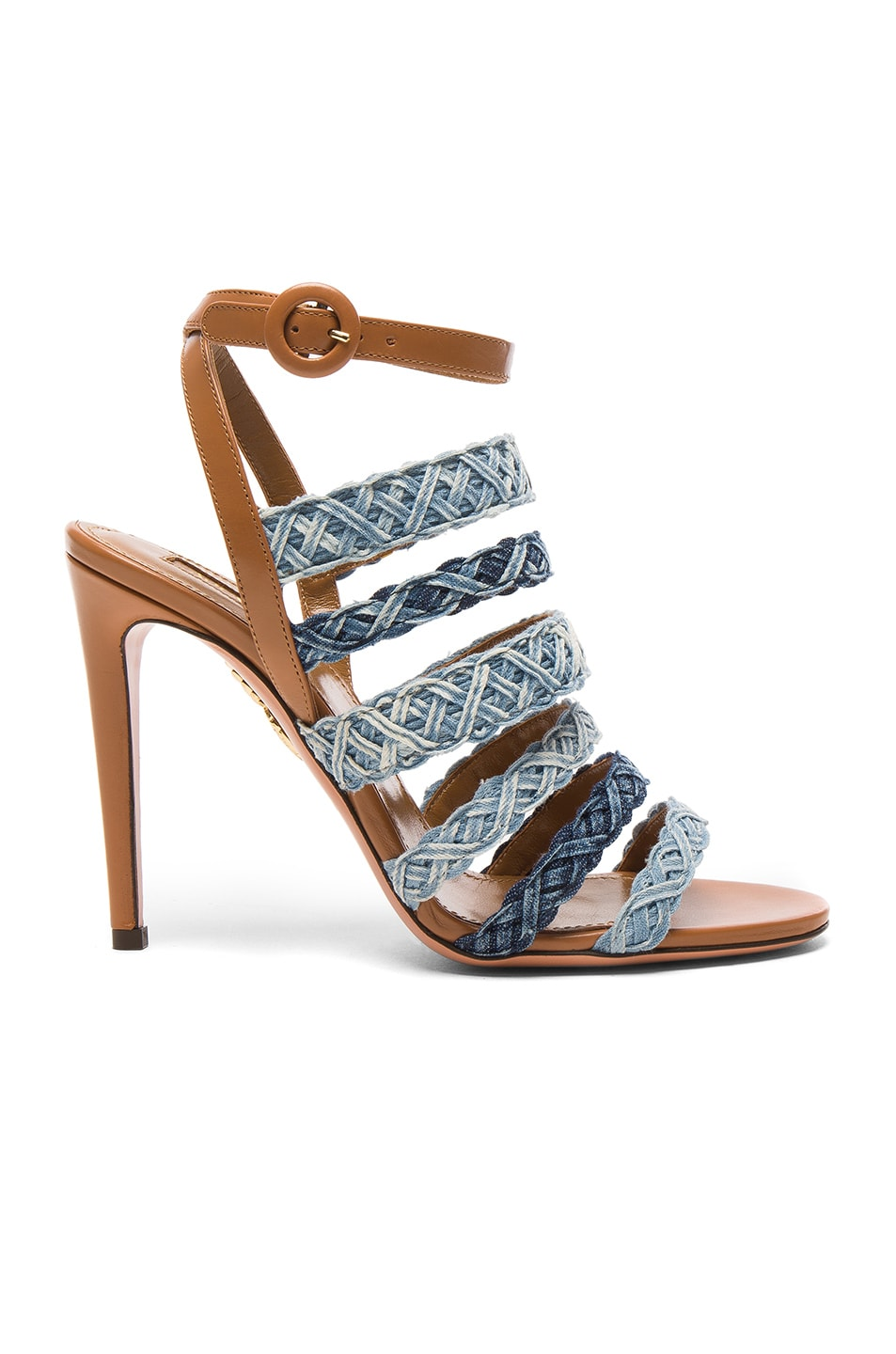 Image 1 of Aquazzura Braided Denim Tyra Heels in Whiskey Jean