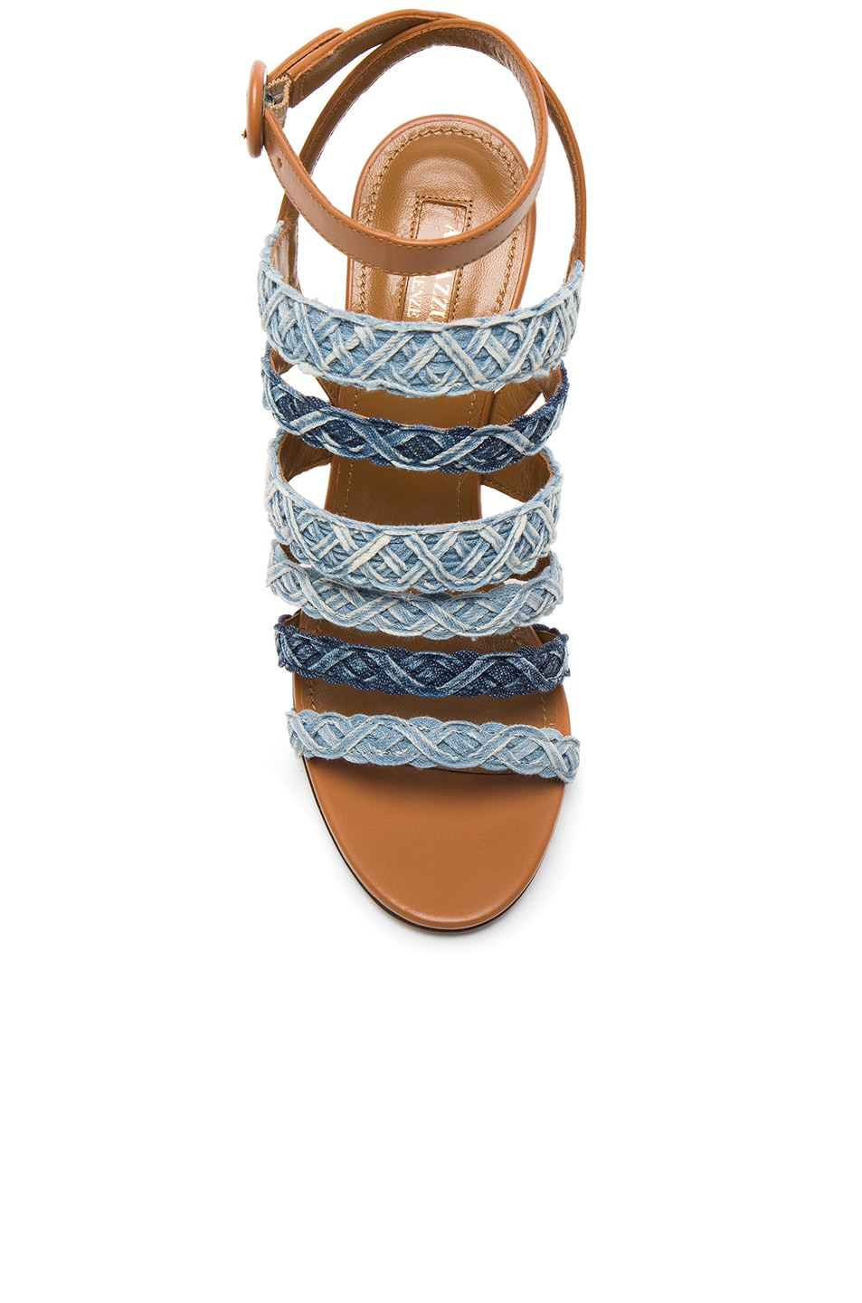 Image 4 of Aquazzura Braided Denim Tyra Heels in Whiskey Jean