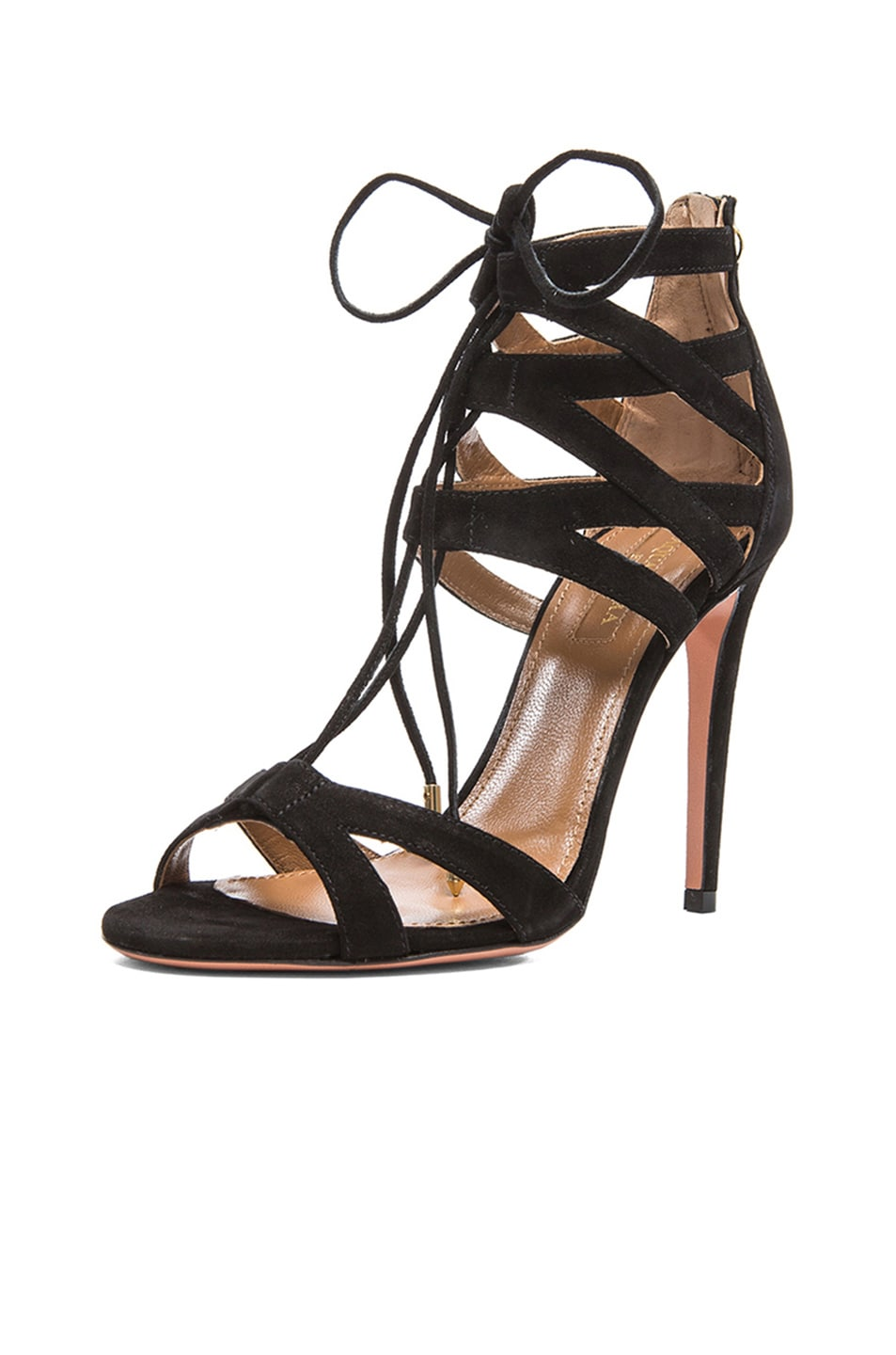 Image 2 of Aquazzura Beverly Hills Suede Sandals in Black
