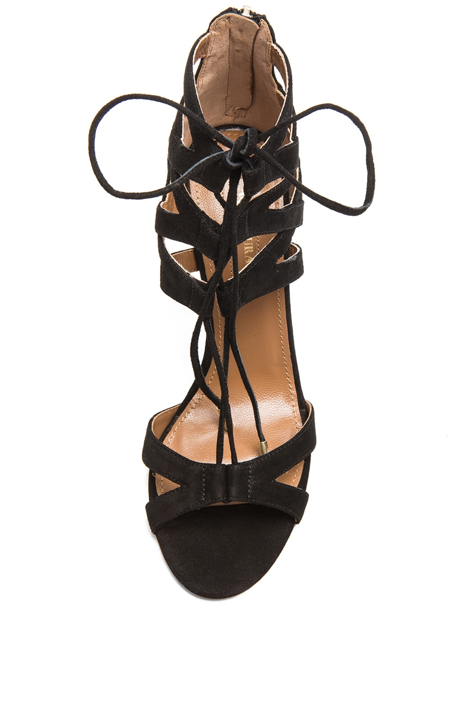 Image 4 of Aquazzura Beverly Hills Suede Sandals in Black