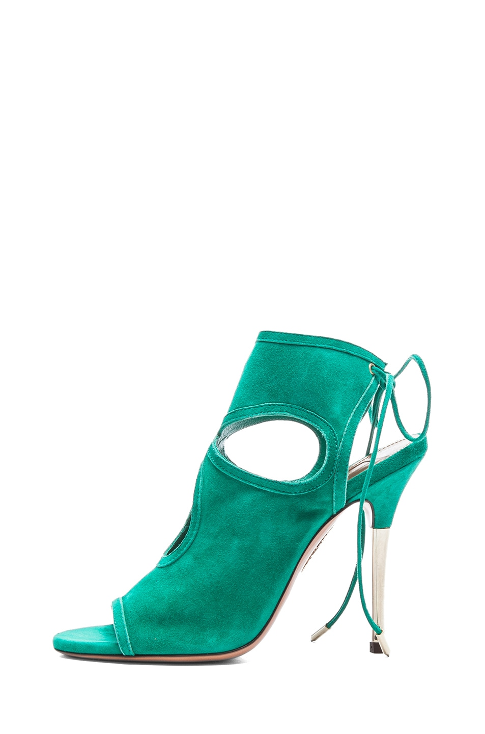 Image 1 of Aquazzura Sexy Thing Suede Sandals in Emerald