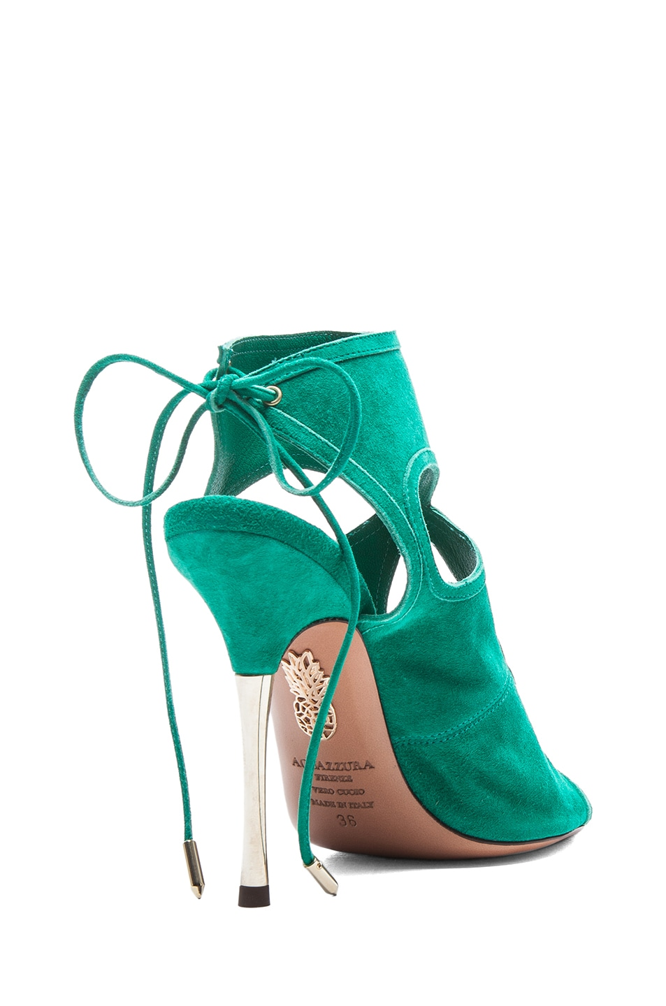 Image 3 of Aquazzura Sexy Thing Suede Sandals in Emerald