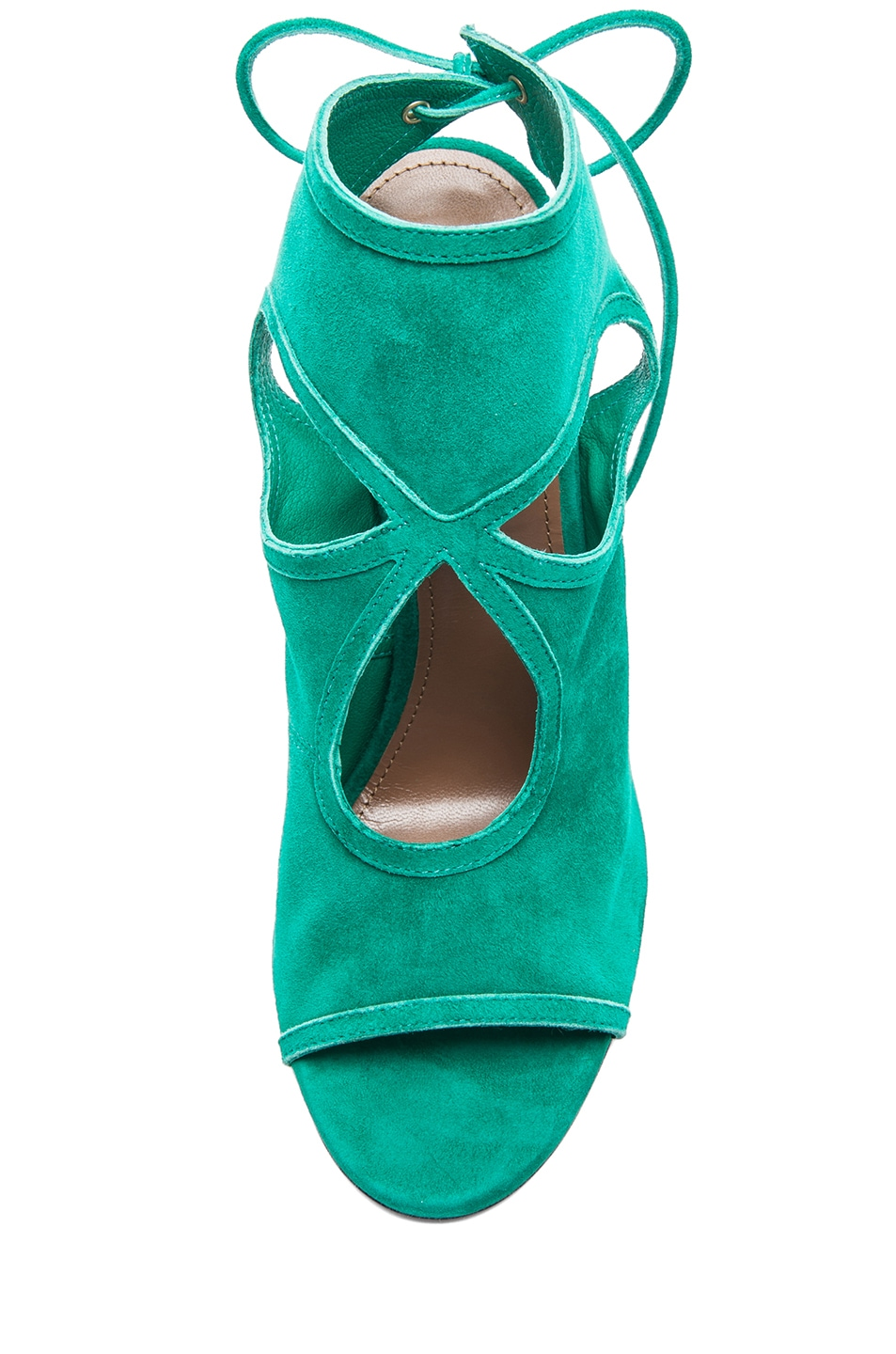 Image 4 of Aquazzura Sexy Thing Suede Sandals in Emerald