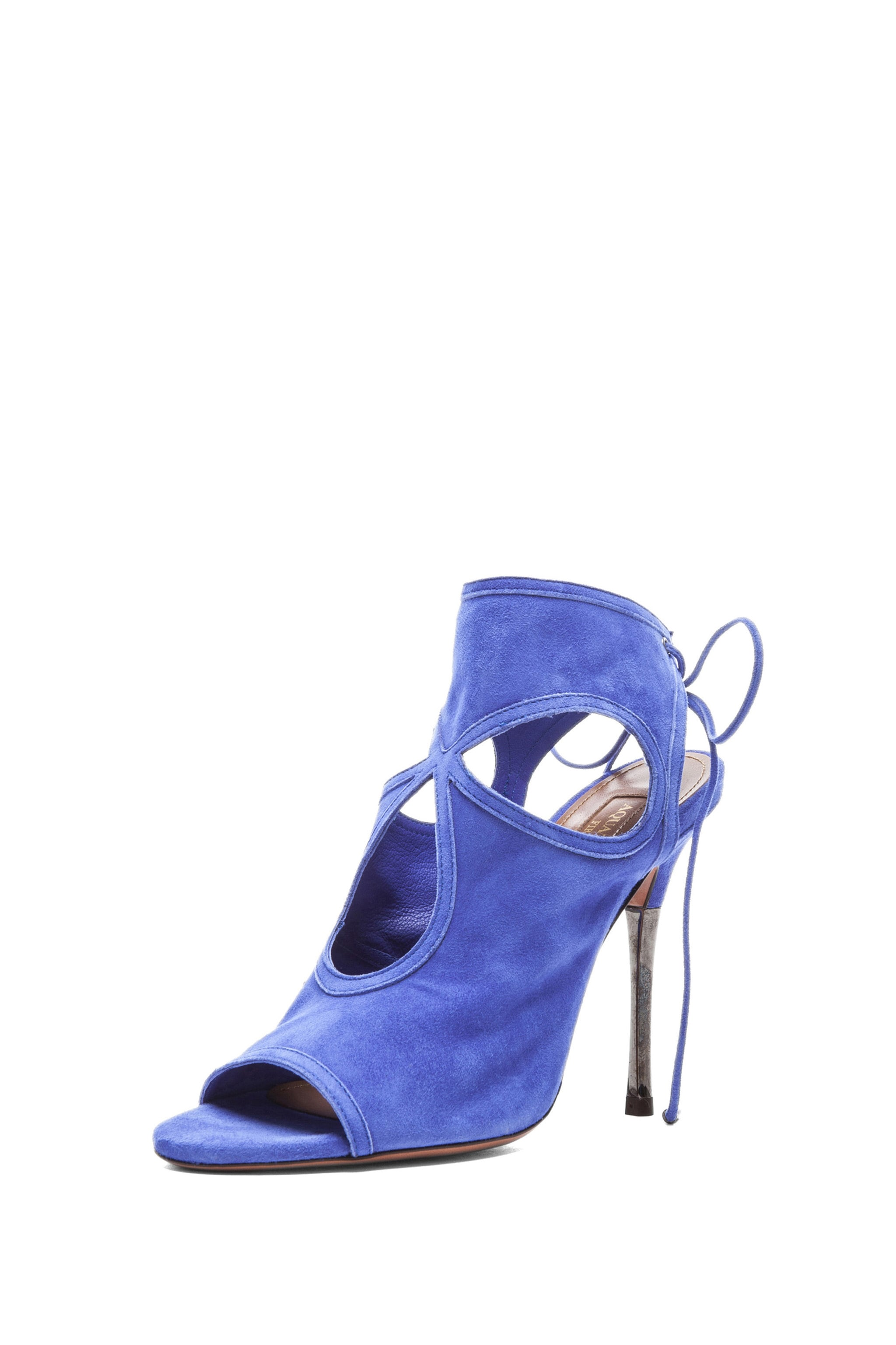 Image 2 of Aquazzura Sexy Thing Suede Sandals in Sapphire Violet
