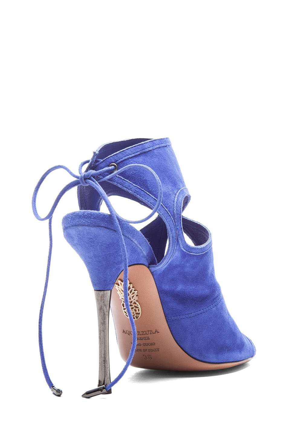 Image 3 of Aquazzura Sexy Thing Suede Sandals in Sapphire Violet