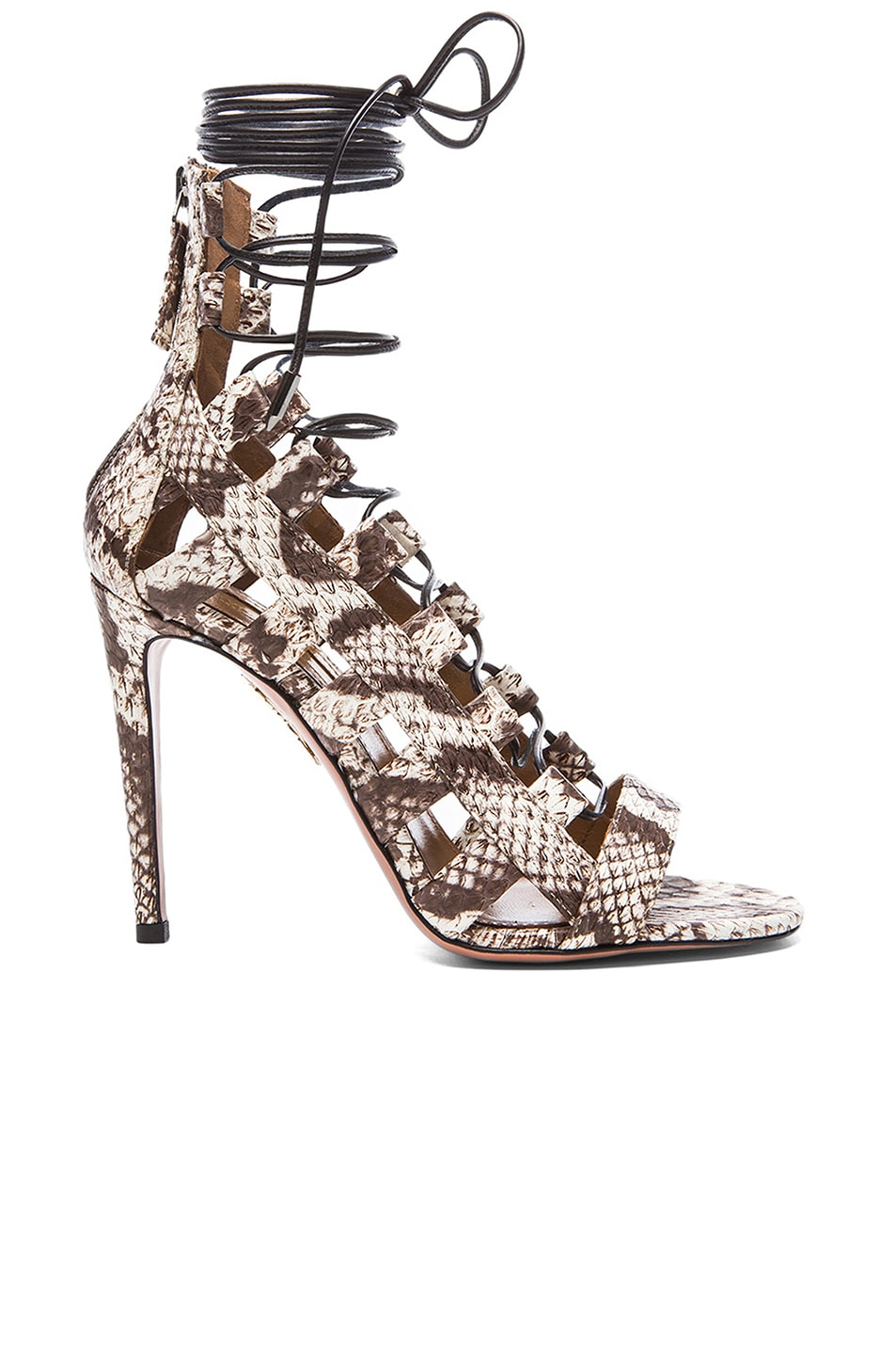 Image 1 of Aquazzura Amazon Elaphe Snakeskin Heels in Roccia