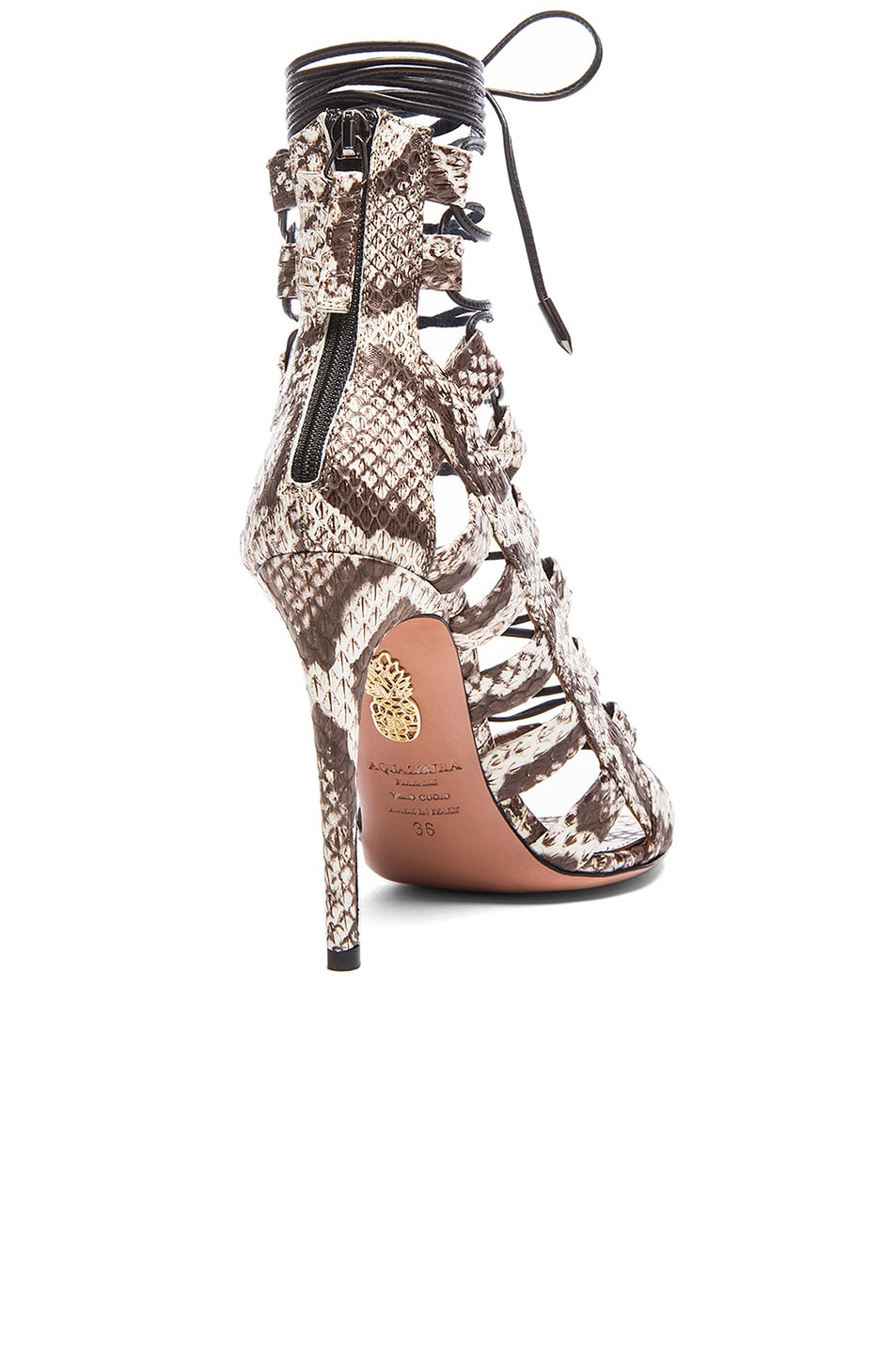 Image 3 of Aquazzura Amazon Elaphe Snakeskin Heels in Roccia