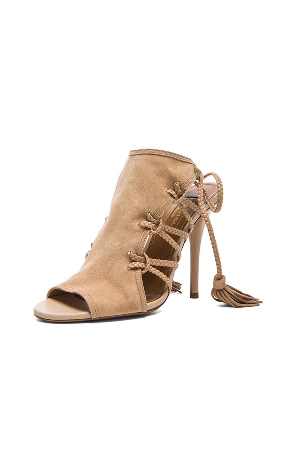 Image 2 of Aquazzura Sahara Suede Heels in Nude